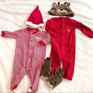 Christmas Pajama Bundle 3 Months - Reindeer/ Santa